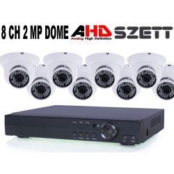 8 KAMERÁS 2MP 3.6MM AHD DOME biztonsági kamera rendszer, kültéri/beltéri, fehér szín