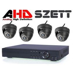 4 Kamerás rendszer 2Mp-es AHD kültéri/beltéri Fekete dómkamerával