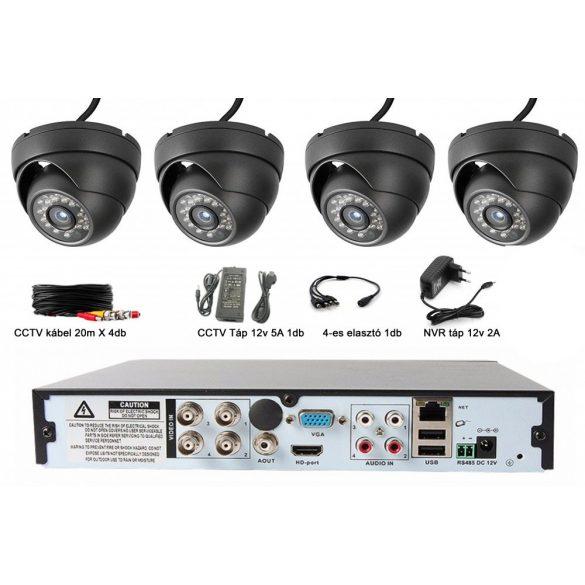4 Kamerás 2MP, 3.6mm AHD rendszer, kültéri/beltéri Fekete dómkamerával