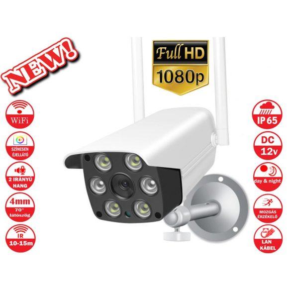 1080P 2MP WIFI IP kamera kültéri ONVIF vezeték nélküli, vízálló kamera, alkalmazás,riasztó, színes éjszakai látás,TF kártya