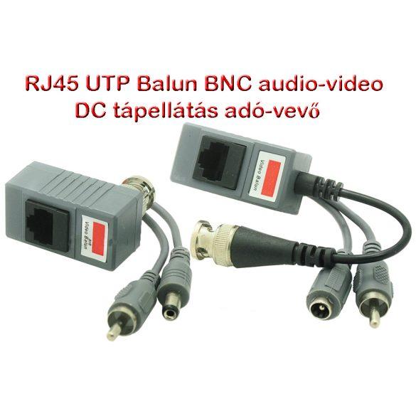 RJ45 UTP csavart páros CCTV adó-vevő BNC Balun, Audio és Video, DC táp
