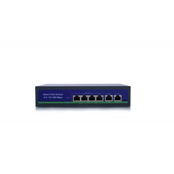 4 portos 10 / 100Mbps PoE kapcsoló VLAN nagy távolságú 250 m-es IP-kamera hálózati adatátvitelhez OEM ODM
