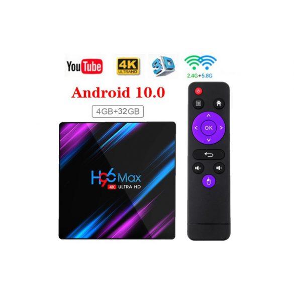 H96 MAX TV okosító 4K Android HD TV BOX 3D kétsavós 2.4G / 5G WiFi, 4+32G
