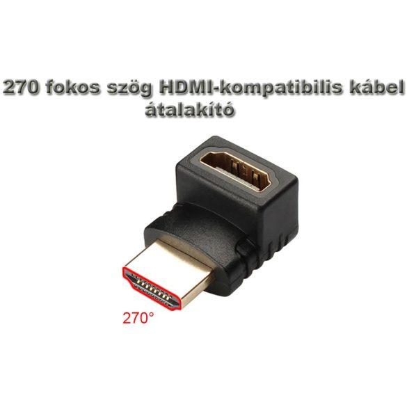 270 fokos HDMI derékszögű adapter kábel átalakító, HDMI aljzat - HDMI dugó