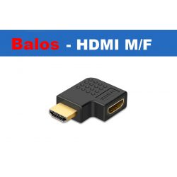 HDMI könyök adapter, HDMI dugó - HDMI aljzat 90°, aranyozott, fekete, balos