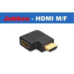 HDMI könyök adapter, HDMI dugó - HDMI aljzat 90°, aranyozott, fekete, jobbos