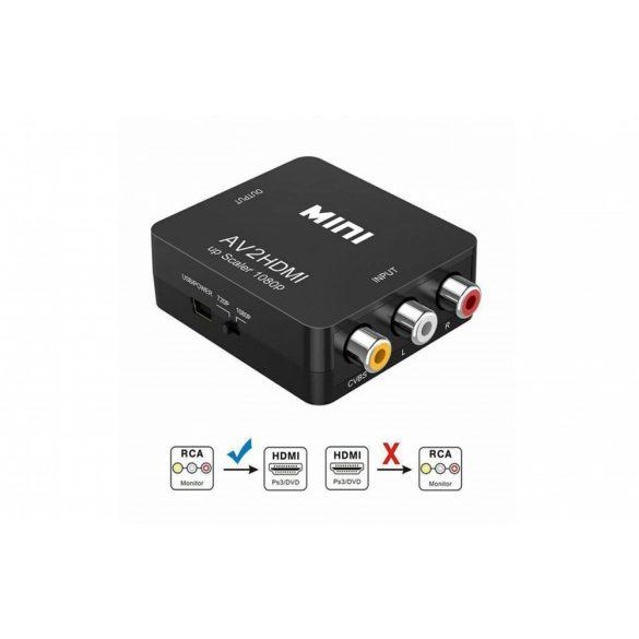 Mini Composite RCA–HDMI 1080P Audio Video AV CVBS adapter átalakítóról TV-hez