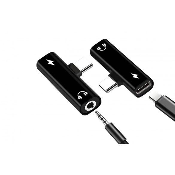 2in1 C típusú, 3,5 mm-es USB-s fejhallgató-megosztó audio jack adapter