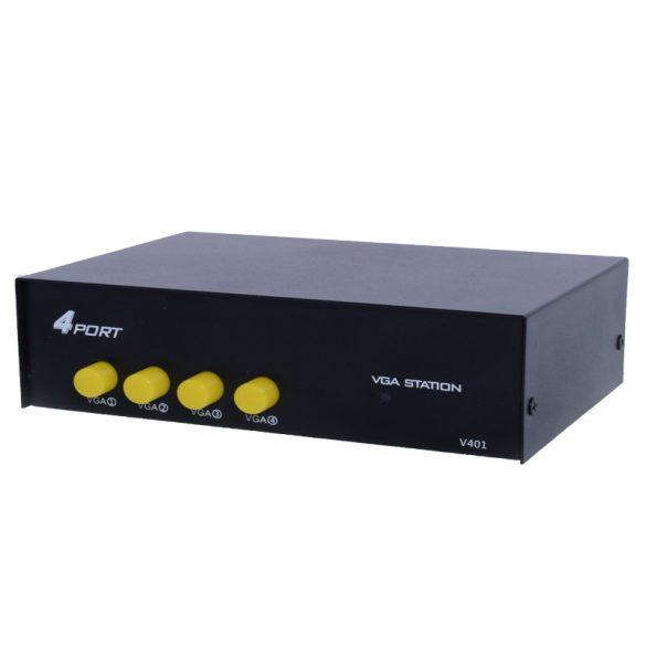 4 portos VGA videó kapcsoló-elosztó VGA SVGA HD