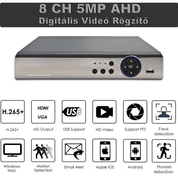 8CH 5MP H.265+,  POE NVR Arcfelismerés, ONVIF hálózati videofelvevő POE IP kamerarendszerhez