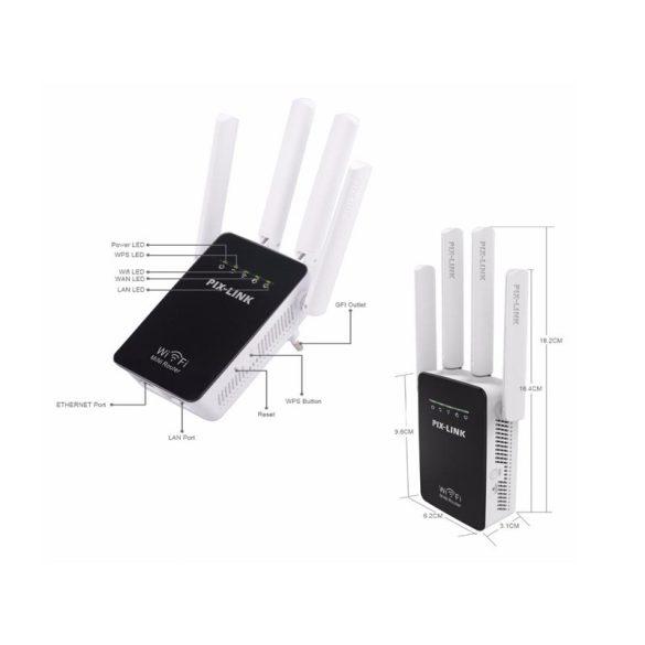PIX-LINK otthoni Mini 300Mbps vezeték nélküli WiFi Router jelkiterjesztő megismétlő 4 külső antenna