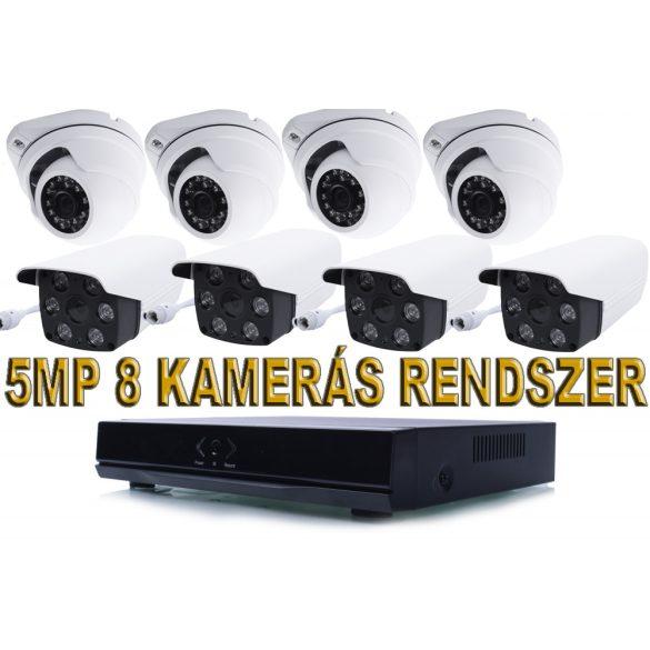 8 KAMERÁS 5MP IP, PoE SWITCH, H.265, ONVIF CSŐ+DOME KAMERA RENDSZER