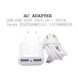 Hálózati töltő, micro USB kábellel IOS/ANDROID, 2 USB 2.4A