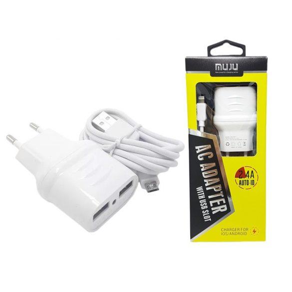 Hálózati töltő adapter 2 USB 2.4A csatlakazoval + MICRO-USB / LIGHTNING adatkábellel