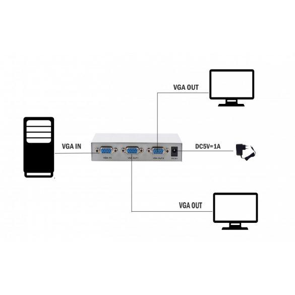 2-portos VGA elosztó 150MHz-es két monitor egyidejűleg 1080P-es képeket mutat