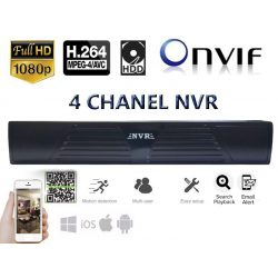 4 csatornás NVR beltéri kamera rögzítőegység, Full Hd, H.264, ONVIF