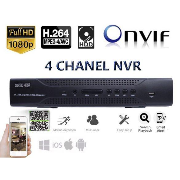 4 csatornás NVR beltéri kamera rögzítőegység, 1080P, H.264, ONVIF