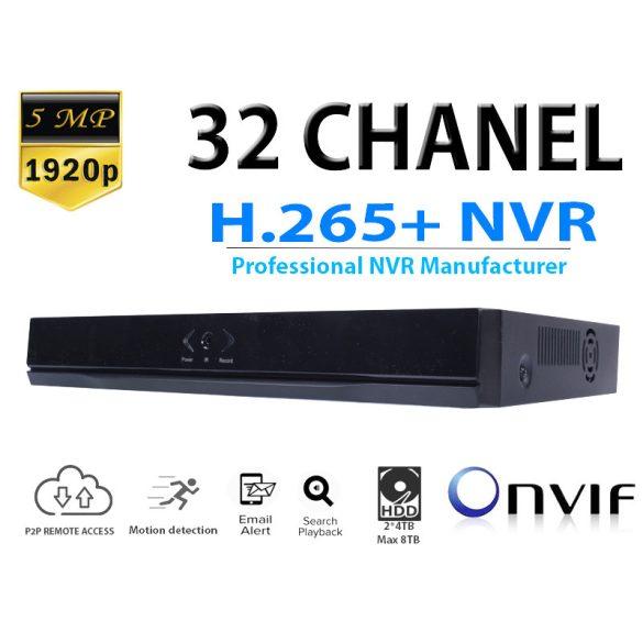 NVR RÖGZÍTŐ 32 CH*5.0MP / 32CH*1080P/ 8CH*4K, ONVIF, H.256+