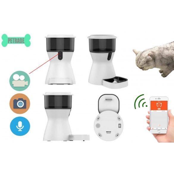 Wifi-s kamera, két irányú hanggal ellátott automatikus állateledel-adagoló