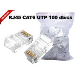 RJ45 csatlakozó CAT6 hálózati kábel vezeték 100db PREMIUM MINÖSÉG