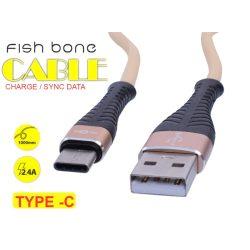 TYPE-C Fish Bone Adat / Töltő Kábel, 2.4A, 1m