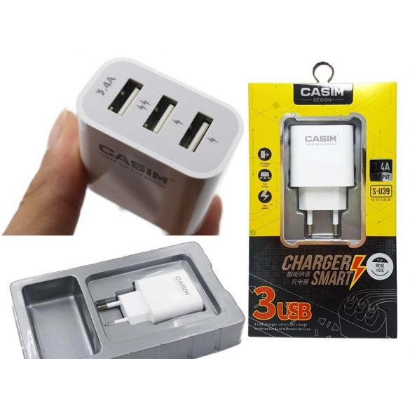 Hálózati töltő adapter 3db USB 3.4A