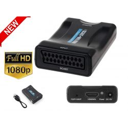 1080P SCART - HDMI Video Audio Upscale Converter adapter HD TV DVD-hez a Sky Box STB Plug and Play DC-kábellel