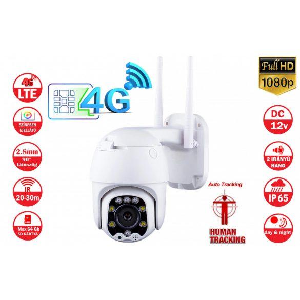4G SIM kártyás 1080P HD IP Dome kamera kültéri Kétirányú audio  P2P IR éjszakai látás 30M