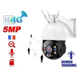 4G GSM SIM kártyás 5MP PTZ IP kamera 30x optikai zoom AP biztonsági megfigyelő kamera SD kártya 128G tároló P2P Kétirányú hang