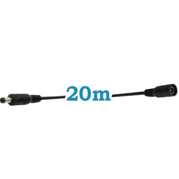 DC hosszabbító 20m,  DUGÓ-ALJZAT  5.5 * 2.1MM