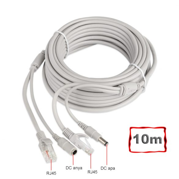 Szerelt Patch Kábel + Táp Kábel 10M