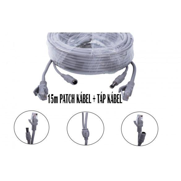 Szerelt Patch Kábel + Táp Kábel 15M