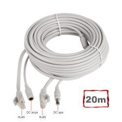 Szerelt Patch Kábel + Táp Kábel 20M