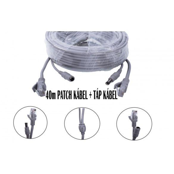Szerelt Patch Kábel + Táp Kábel 40M