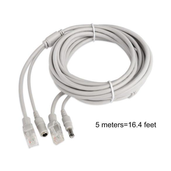 Szerelt Patch Kábel + Táp Kábel 5M