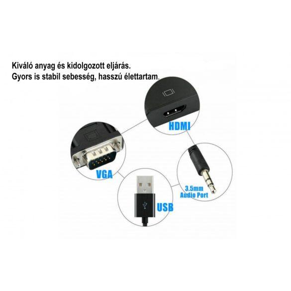 VGA- HDMI kimenet 1080P HD + Audio AV HDTV videokábel-átalakító adapterről