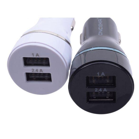 Autós USB töltő, DUAL USB 2000 mA,