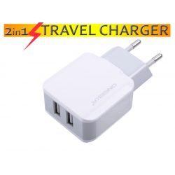 2.1A Hálózati töltő adapter 2 USB csatlakozóval , választható adatkábellel MICRO-USB / LIGHTNING