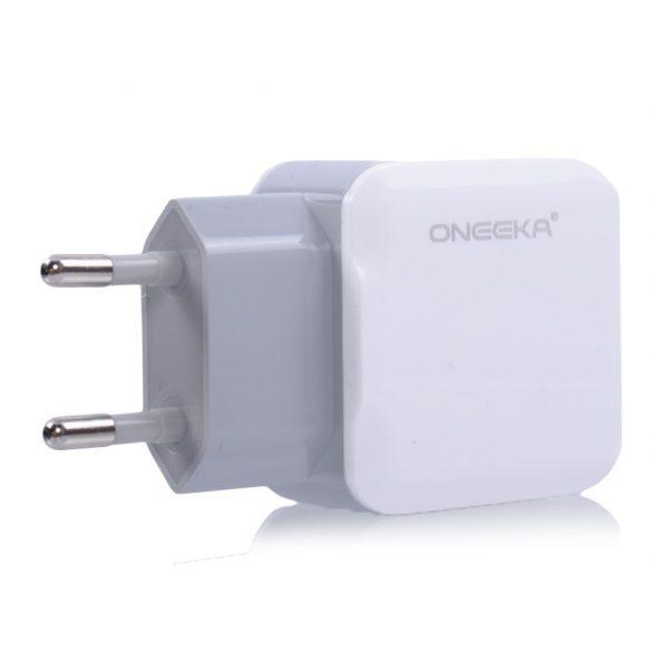 Hálózati töltő adapter 2db 2.1A USB csatlakozóval + MICRO-USB / LIGHTNING adatkábellel
