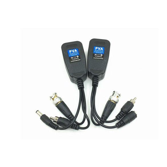 Passzív videó-audió-tápellátás Balun BNC - RJ45 hálózati átalakító Cat5e / Cat6 adapter AHD / TVI / CVI / CVBS Full HD biztonsági megfigyelő kamerarendszerekhez