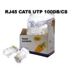 RJ45 csatlakozó CAT6 moduláris csatlakozó, átlátszó 100db