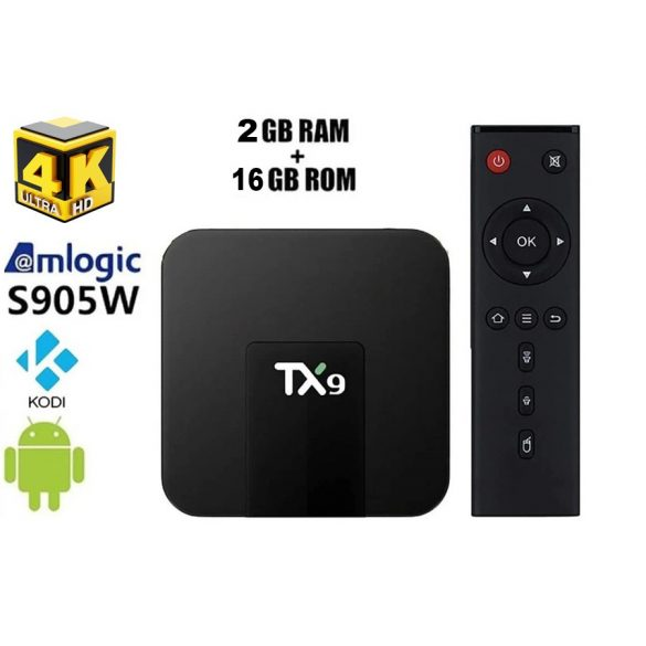 Android TV Box TX9 4K  H.265, 4GB RAM, 64GB tárhely, Bluetooth, Alice UX