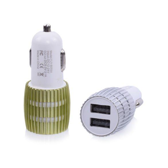 Mini autós USB töltő, 2 USB, 2.1A